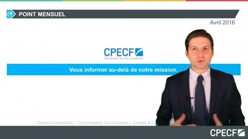 vidéo actu CPECF avril 2016